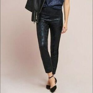 The Essential Skinny by Anthro Foil Detail Jacquard Pant Size 4